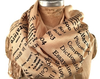 Literary printed scarf. Dewey Decimal for Literature book print scarf. Silkscreened pashmina. Sandy beige & more. Librarian, author gift.