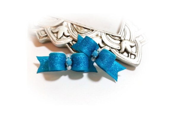 Small Dog Bows - Turquoise Glitter