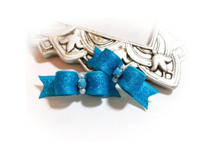 Dog Bows, Turquoise Dog Bows, Dog Bows for Girls, Pet Hair Bow, Dog Grooming Bow, Bows for Dogs, Glitter Pet Bow, Fancy Dog Bow