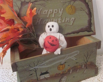 Happy Haunting Cranberry Box. Haunted house, ghost, cemetery. Original primitive folk art, hand painted by Donna Atkins. Halloween prop.
