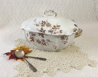 Haviland Limoges Large Soup Tureen, Gray & Yellow Autumn Flowers with Gold Trim, Vintage Covered Vegetable Bowl
