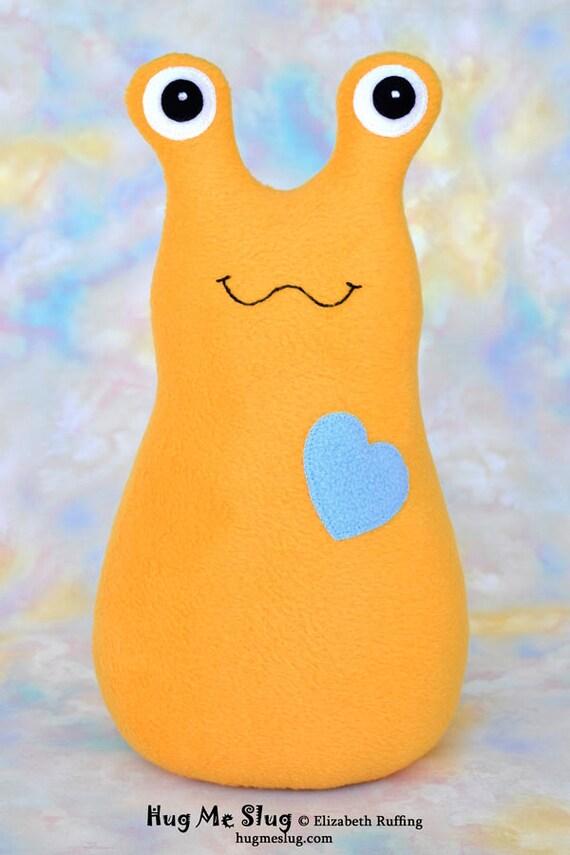 Handmade Slug, Stuffed Animal Plush Kids Baby Toddler Art Toy Doll, Hug Me Slug, Personalized Tag, Mango Gold, Baby Blue Fleece, 12 inch