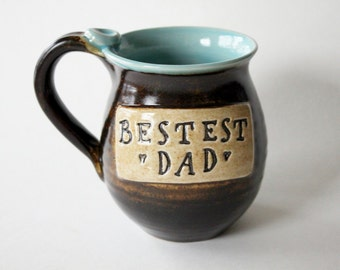 Coffee Cup for Dad - Engraved Mug for Dad - Chocolate Brown and Blue - ready to ship