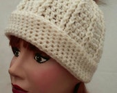 Beanie Hat with Fur Pompom Women Winter White Adult Accessory Ready To Ship