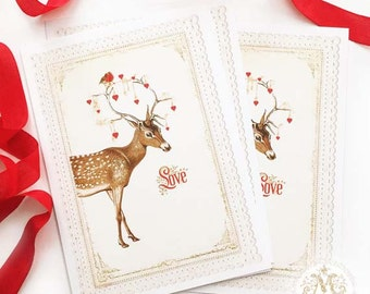 Deer, Love, note cards, Christmas cards, Valentine cards, Christmas postcard, red hearts, antlers, robin, reindeer, holiday cards, for her