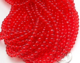 76 Red Glass Beads 5mm (H2093)