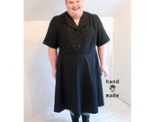 Perennial Dress -- black stretch cotton -- plus size, 6X, super plus -- fit & flare, button front, collar, short sleeves -- 63B-60W-80H