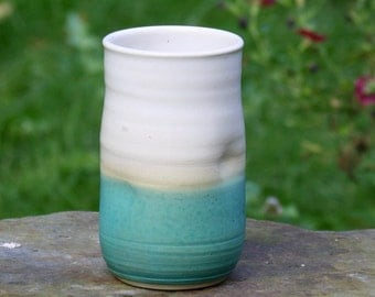 Turquoise Blue and White-Handmade Dimpled Pottery-Tall Tumbler-Twelve Ounce Capacity-Small Vase-Five Inches Tall-Wheel Thrown Ceramics