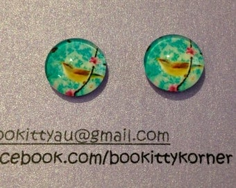 Sweet Bird with Blossom on Aqua Stud Earrings with Stainless Steel Posts