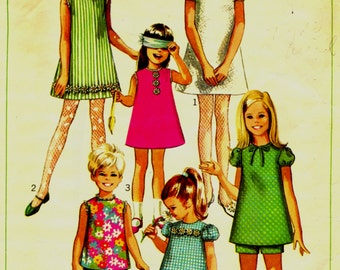 Simplicity 7567 Girl's Size 10 Dress and Top and Shorts Set 1960s  ©1968