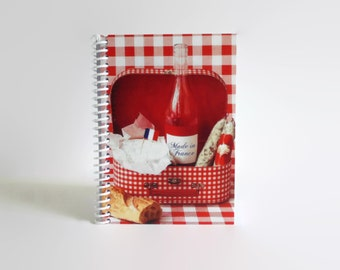 Red Gingham Picnic Notebook, Blank Recipe Book, Spiral Bound Pocket Journal, Recipes Sketchbook, A6, Cute, Writing, Travel Gifts Under 15