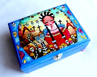 Large Jewelry Box, Frida Wood Box, Whimsical Art Box Mexican Style, Day of the Dead, Girl with Cat, Blue Red