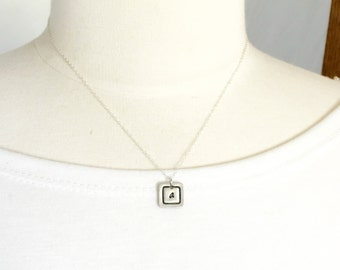 Square Initial Necklace - Personalized Necklace - Cluster Necklace - Initial Jewelry - For Her - Birthday Gift for Mom - Mom Necklace