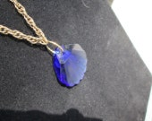Necklace, Gorgeous Saffire Blue Cut Glass Fan Shaped Pendant, on 17 Inch Antiqued, Woven Gold  Chain, Gift For Her, For Any Occasion