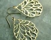 Gold Butterfly Earrings,  Matte Gold Wing Chandelier Earrings, Butterfly wing Earrings, Large Drop Earrings