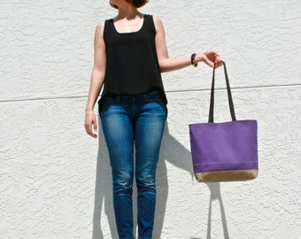 Purple Canvas Tote Bag with Leather Straps
