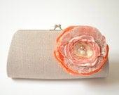 Bridal Clutch in Linen ~ Bridesmaid Clutch ~ Flower Bouquet Clutch ~ Peach Papaya Bright Orange Coral Champagne Lace Gold Netting Flower