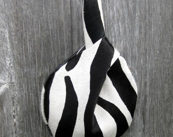 Wristlet in Zebra Printed Hair On Cowhide Leather by Stacy Leigh Ready to Ship