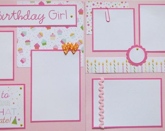 12x12 premade scrapbook pages - layout for -- The BIRTHDAY Girl -- BiRTHdAY PaRTy FuN, celebrating girl, toddler girl, baby girl's birthday