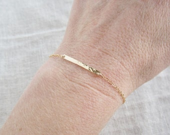 Hammered bar bracelet, Thin gold bracelet, stacking bracelet, 14K gold filled, dainty layering bracelet, delicate, simple bracelet, everyday