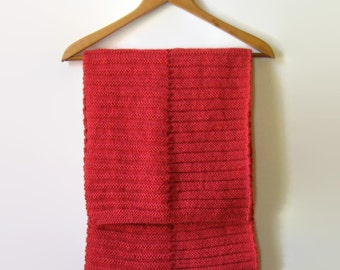 Red Coral Wool Cute Hand Knit Wool Scarf, Soft, Melon Red, Wrap, Shawl, Womens Scarves, Mens Long Scarf, Winter Scarf, Winter Accessories