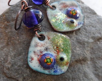 Love Diamonds ... Artisan-Made Copper Enameled Charms, Lampwork and Copper Wire-Wrapped Boho, Floral Earrings