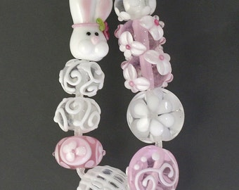 Transparent Pink Bunny Bead Set