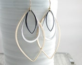 Gold and Silver Long Earrings Geometric Jewelry Modern Earrings Bohemian Chic Earrings Long Dangle Earrings Gift For Women  Gold Earrings