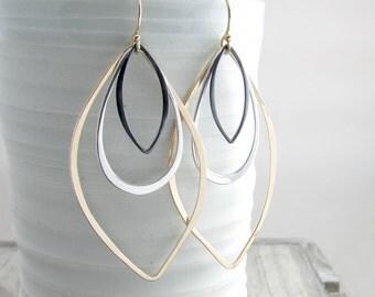 Gold and Silver Long Earrings Geometric Jewelry Modern Earrings Bohemian Chic Earrings Long Dangle Earrings Gift For Women  Gold Earrings