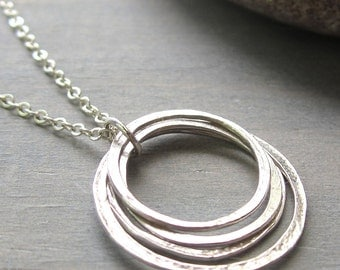 Small Circles Necklace, Sterling Silver Four Layered Circles, Yoga Jewelry