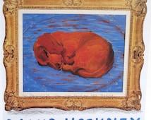 Dachsund Dog Art Print Book Plate - Little Stanley Sleeping - Tate Gallery London Exhibit Poster Ad Reprint - David Hockney British Aritst