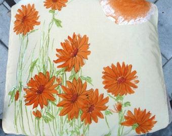 Vera Neumann Scarf - Orange Flower Beige Green Printed Floral Design- Square - Vintage 1970s 70s Scarves Japan - Womens Ladies Gift Idea