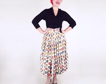 50s Orange, Yellow and Green Clock Novelty Print Cotton Full Skirt XS