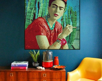 Frida Kahlo Cigarette Cactus Poster Print Instant Digital Download  Photomontage Turquoise Blue Green Red Black White All Sizes Aqua Purple