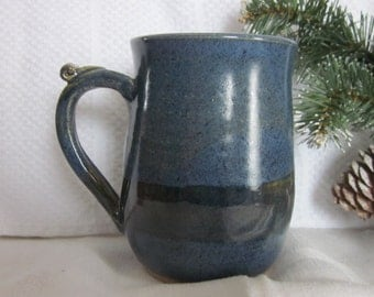 DEEP BLUES Mug with Thumb Rest Wheel Thrown Stoneware Pottery