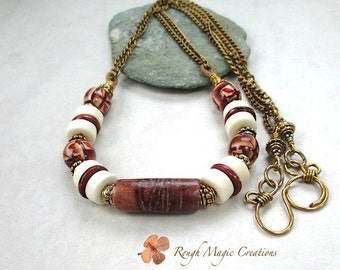 Earthy Brown Cream Necklace, Long Boho Necklace, Unisex Jewelry for Men Women, Reclaimed Rustic Wood, Antique Brass Adjustable Chain N306A