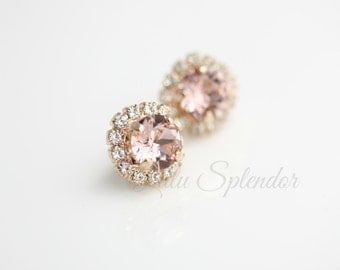 Blush Crystal Earrings Rose Gold Stud Earrings Vintage Rose Crystal Bridal Earrings Soft Pink Bridesmaid Stud Earrings STUD