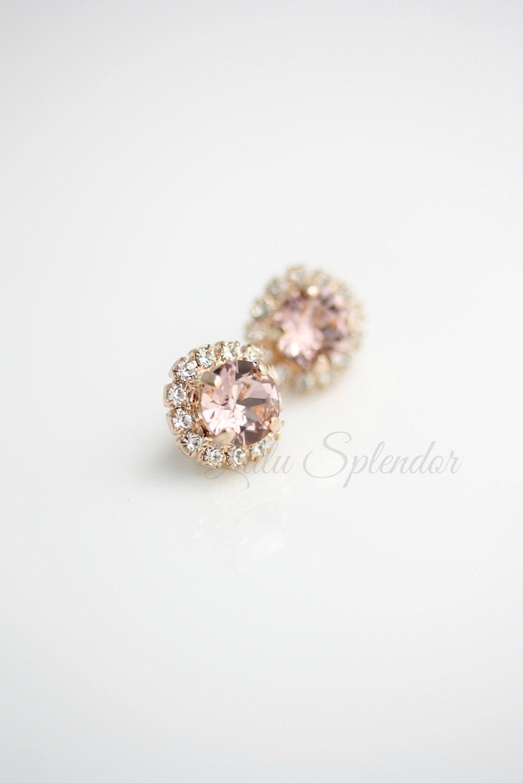 blush crystal earrings rose gold stud earrings vintage rose. Black Bedroom Furniture Sets. Home Design Ideas