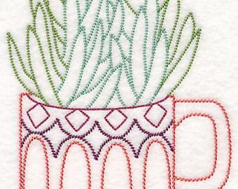 Succulent Towel Embroidered Senecio in a Cup Towel Vintage Look Flour Sack Kitchen Tea Towel