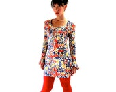 60s MOD A Line MINI Dress with Red Yellow Blue graphic Print BRACELET Sleeves