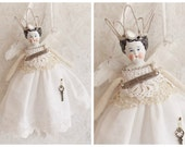 Shabby Altered Art Vintage Porcelain Angel Doll Silver and Ivory Hanging Tattered Assemblage Art