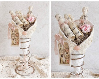 Shabby Cottage Chic Tattered Roses and Lace Rustic Vintage Bed Spring Tussie Mussie