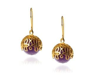 Purple Amethyst Ball Earrings