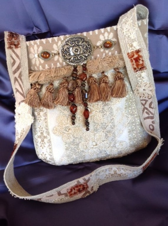 Bohemian Style Off White Brocade & Tassels Cross Body Purse