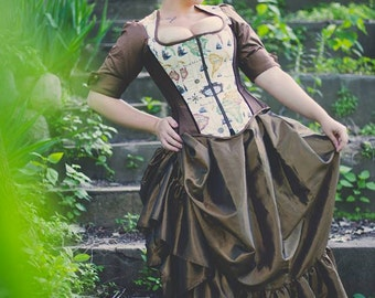"""Gothic Steampunk Skirt -Victorian Pirate Adult Halloween-  Bustle Pulls with Ruffle in Taffeta- """"Victoria Style"""" Custom to Order"""