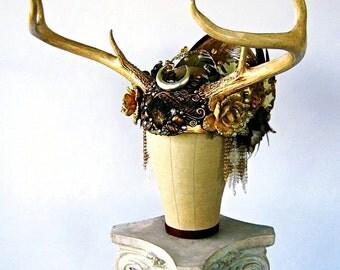 Antler Headdress Autumn Crown Rutile Quartz Labradorite Pagan Priestess Ritual Goddess Occult Magick Shaman HARVEST MOON by Spinning Castle