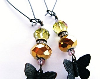 Dark Butterfly Charm Earrings  Gold Metallic Green Iridescent Pink Faceted Dangles by Spinning Castle