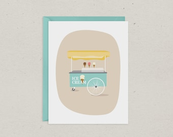 Clearance | Vintage Ice Cream Cart Card | Blank | Greeting Card