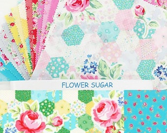 "Flower Sugar layer cake quilt cotton fabric squares bundle - 10"" x 10"" Origami Pack Lecien Japan - 42 pieces"