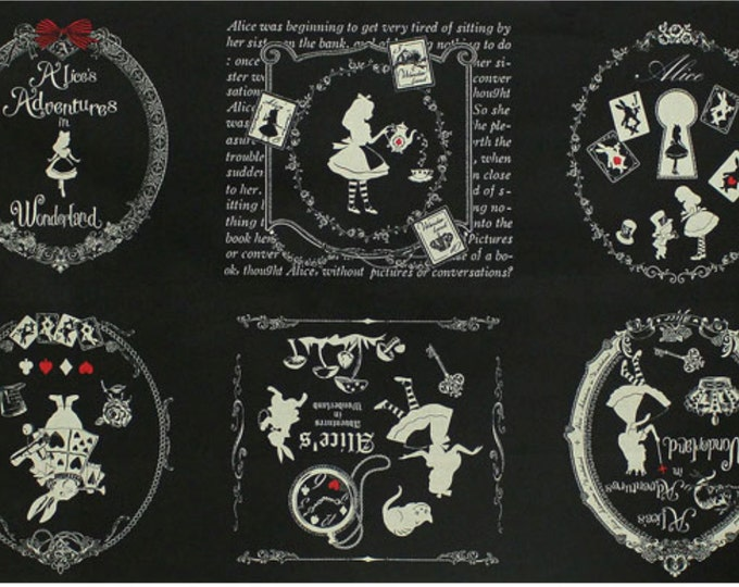 Alice in Wonderland panel - Alice L40574-100 Black, Japanese Cotton Linen Girl's Story by Lecien of Japan, 1 panel